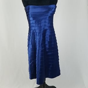 Bcbgmaxazria women 12 strapless layered blue dress